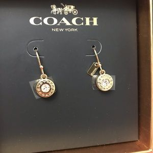 Coach Open Circle Stone Earring On Wire